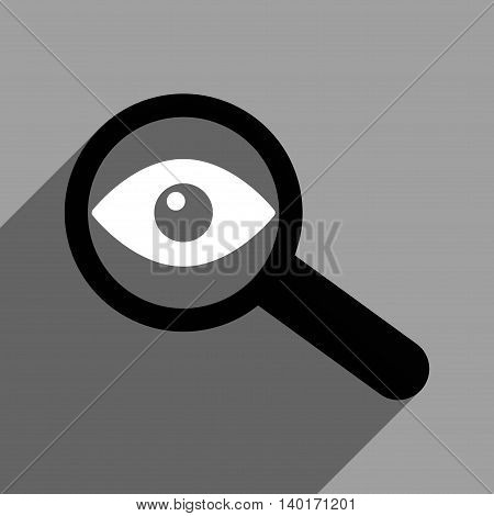 Investigate Vision long shadow vector icon. Style is a flat investigate vision black and white iconic symbol on a gray square background.
