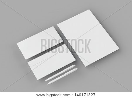 White stationery mock-up template for branding identity on gray background in weightlessness with long shadow. For graphic designers presentations and portfolios. 3D rendering.