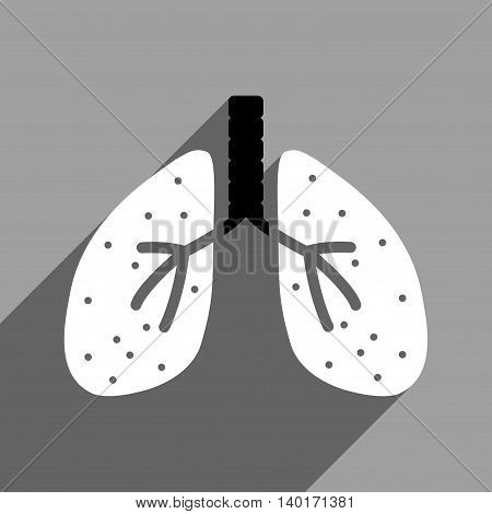 Lungs long shadow vector icon. Style is a flat lungs black and white iconic symbol on a gray square background.