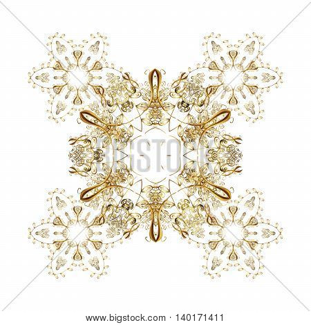 Oriental pattern with arabesque and floral elements. Abstract golden ornament