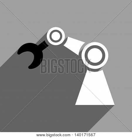 Manipulator long shadow vector icon. Style is a flat manipulator black and white iconic symbol on a gray square background.