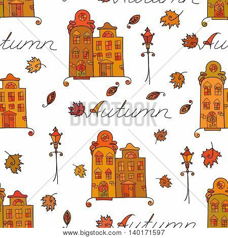 Autumn seamless pattern of houses with varicolored windows, streetlights and falling leaves. Design element for background, textile, paper packaging, wrapping paper and other. Vector illustration.