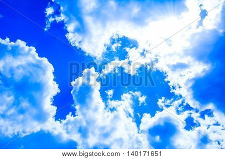 Idyllic beautiful cloudy blue sky background. Clear blue sky with fluffy clouds.