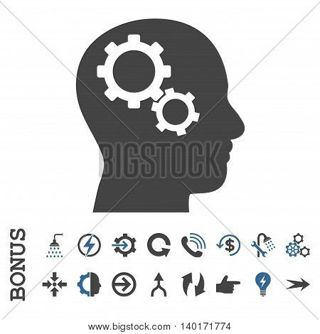 Brain Gears vector bicolor icon. Image style is a flat iconic symbol, cobalt and gray colors, white background.