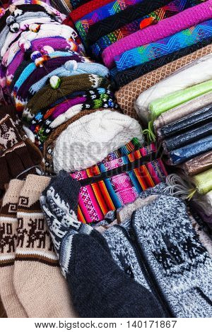 peruvian hats and socks in a street market
