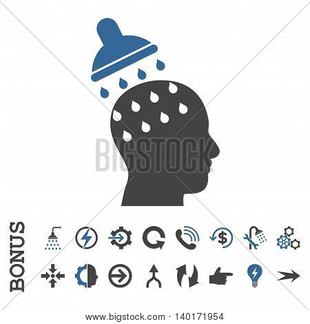 Brain Washing vector bicolor icon. Image style is a flat pictogram symbol, cobalt and gray colors, white background.