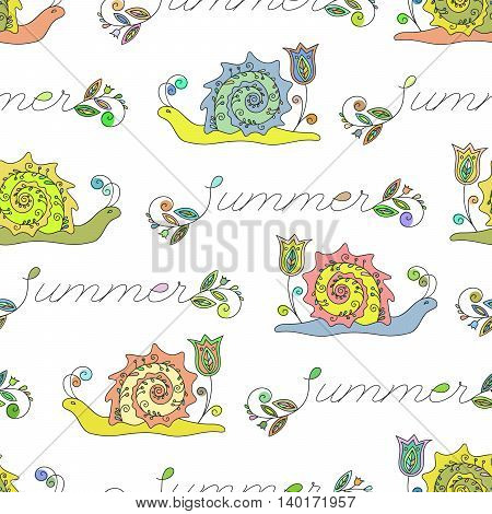 Summer seamless pattern with funny colored snails and Summer inscription. Design element for background, paper packaging, wrapping paper and other. Vector illustration.
