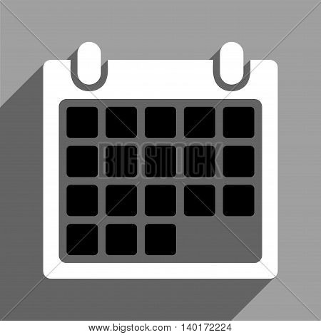 Month Calendar long shadow vector icon. Style is a flat month calendar black and white iconic symbol on a gray square background.