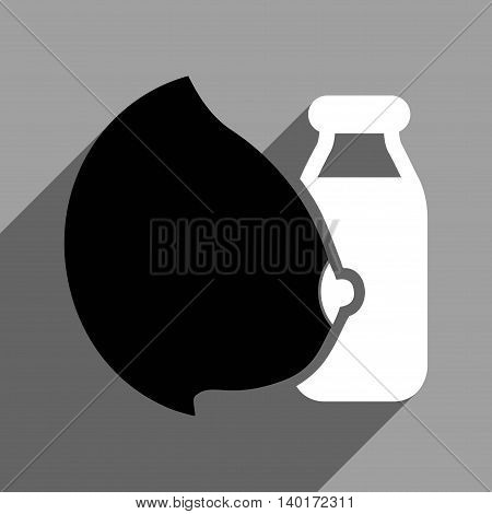 Mother Milk Bottle long shadow vector icon. Style is a flat mother milk bottle black and white iconic symbol on a gray square background.