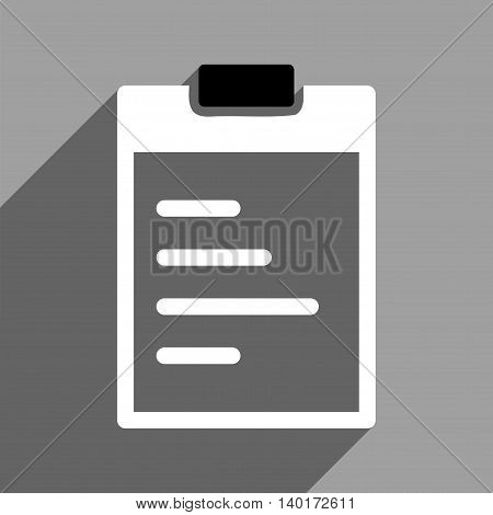Pad Text long shadow vector icon. Style is a flat pad text black and white iconic symbol on a gray square background.
