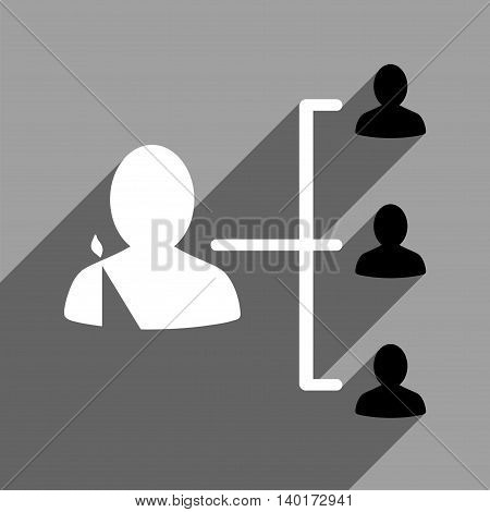Patient Relations long shadow vector icon. Style is a flat patient relations black and white iconic symbol on a gray square background.