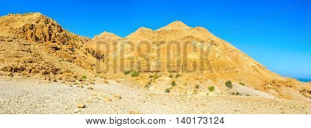 The mountain landscape of Judean desert next to Ein Gedi Nature Reserve Israel.