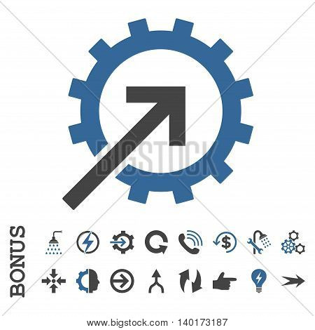 Cog Integration vector bicolor icon. Image style is a flat pictogram symbol, cobalt and gray colors, white background.