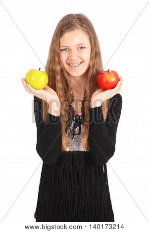 Girl holding fresh apple isolated on white