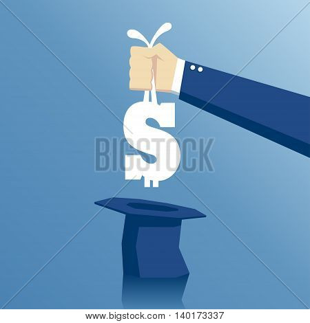 Hand pulls out of hat a dollar sign like a rabbit business concept success and easy money