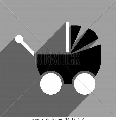Pram long shadow vector icon. Style is a flat pram black and white iconic symbol on a gray square background.
