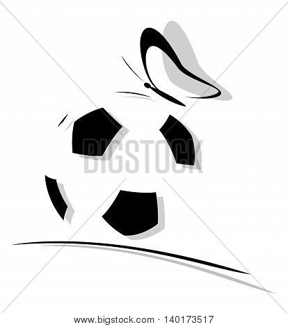 Logo soccer ball with butterfly. vector illustrations