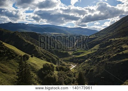 Landscape in northern Macedonia with cloudy sky