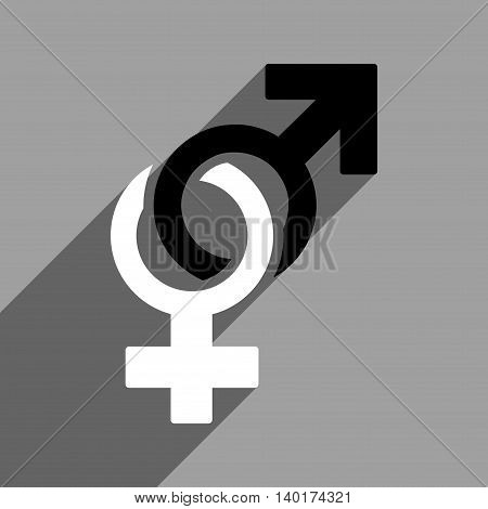 Sexual Symbols long shadow vector icon. Style is a flat sexual symbols black and white iconic symbol on a gray square background.