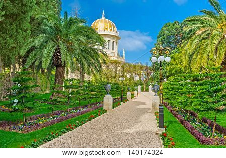 The alley among the flower beds and trees leads to the Bahai Shrine surrounded by ornamental gardens Haifa Israel.