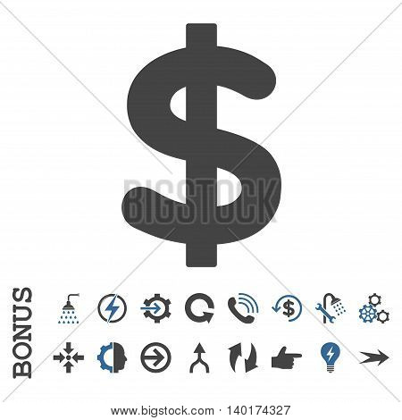 Dollar vector bicolor icon. Image style is a flat pictogram symbol, cobalt and gray colors, white background.