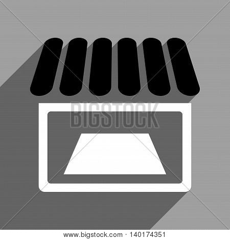 Shop Facade long shadow vector icon. Style is a flat shop facade black and white iconic symbol on a gray square background.