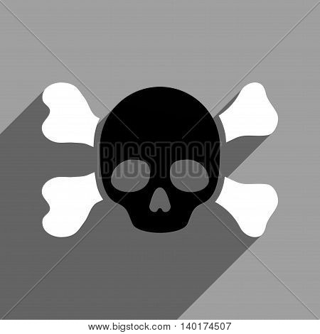 Skull and Bones long shadow vector icon. Style is a flat skull and bones black and white iconic symbol on a gray square background.