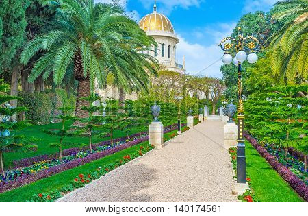 The Bahai Gardens are famous among the tourists and locals coming here to enjoy the nature's beauty Haifa Israel.
