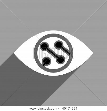 Smart Lens long shadow vector icon. Style is a flat smart lens black and white iconic symbol on a gray square background.
