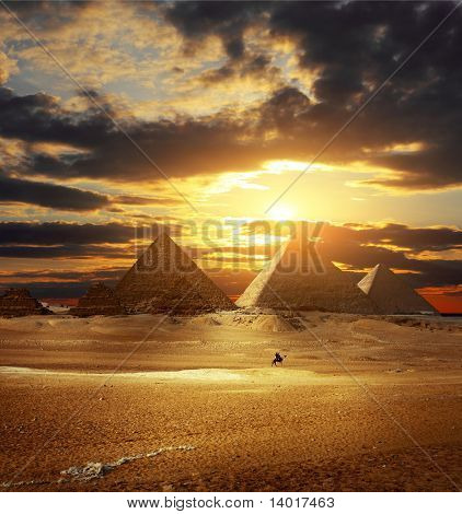 Sunset over Giza pyramids. Egypt