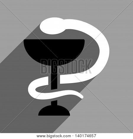 Snake Cup long shadow vector icon. Style is a flat snake cup black and white iconic symbol on a gray square background.
