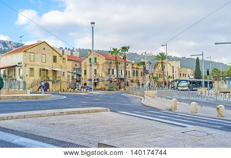 HAIFA ISRAEL - FEBRUARY 20 2016: The old houses of German Colony the tourist neighborhood and old town district on February 20 in Haifa.