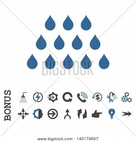 Drops vector bicolor icon. Image style is a flat iconic symbol, cobalt and gray colors, white background.