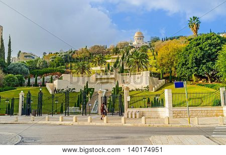 The lower level of Bahai Gardens with the fountains stairway and the viewpoints Haifa Israel.
