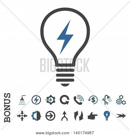 Electric Bulb vector bicolor icon. Image style is a flat iconic symbol, cobalt and gray colors, white background.