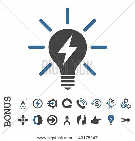 Electric Light Bulb vector bicolor icon. Image style is a flat pictogram symbol, cobalt and gray colors, white background.
