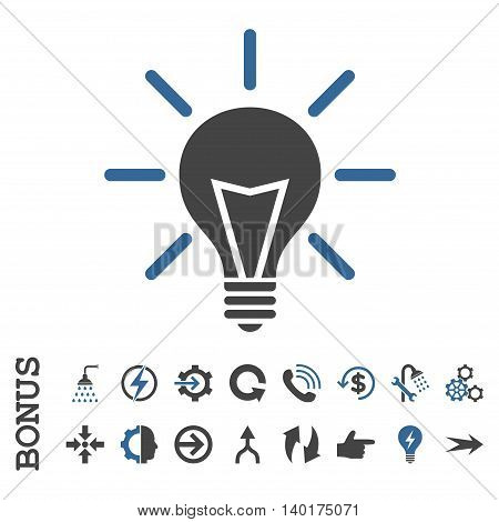 Electric Light vector bicolor icon. Image style is a flat pictogram symbol, cobalt and gray colors, white background.