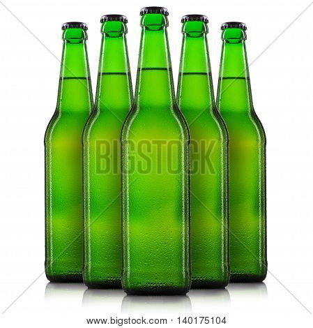 Set bottles of beer with drops in green bottle isolated on white background.