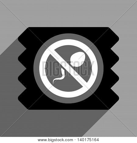 Spermicide Condom long shadow vector icon. Style is a flat spermicide condom black and white iconic symbol on a gray square background.