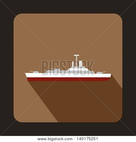 Military ship icon in flat style with long shadow