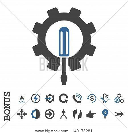 Engineering vector bicolor icon. Image style is a flat pictogram symbol, cobalt and gray colors, white background.