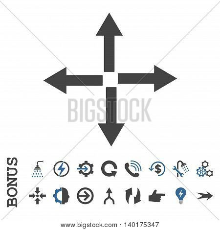 Expand Arrows vector bicolor icon. Image style is a flat iconic symbol, cobalt and gray colors, white background.