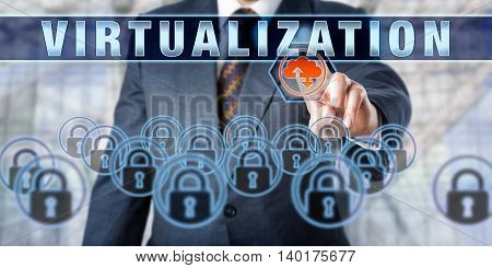 Enterprise client is touching VIRTUALIZATION on an interactive control screen. Business services metaphor. Computing terminology and information technology concept for virtual storage solutions.