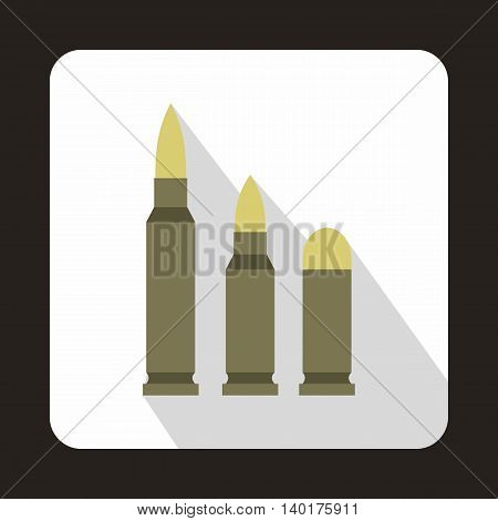 Different caliber bullets icon in flat style with long shadow