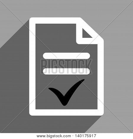 Valid Document long shadow vector icon. Style is a flat valid document black and white iconic symbol on a gray square background.