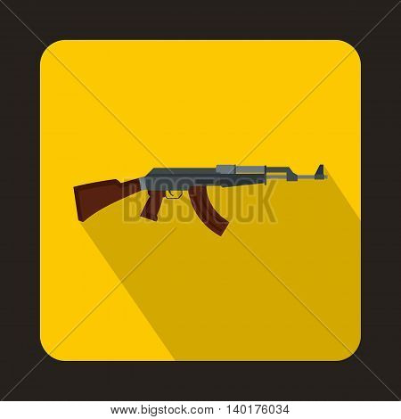 Automatic machine gun icon in flat style with long shadow