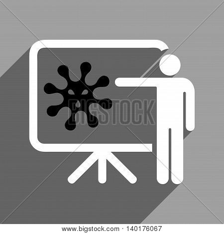 Virus Lecture long shadow vector icon. Style is a flat virus lecture black and white iconic symbol on a gray square background.