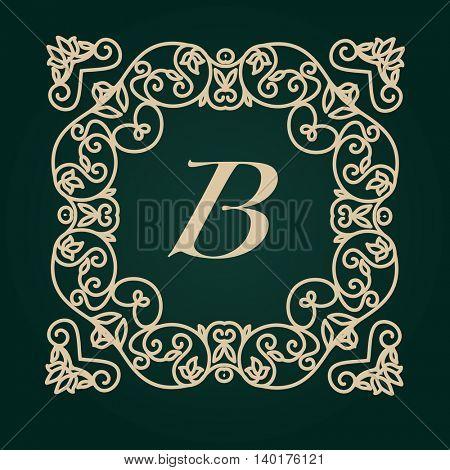 Luxury Logo template. Flourishes calligraphic elegant golden ornament monogram. Business sign or identity. Vector illustration