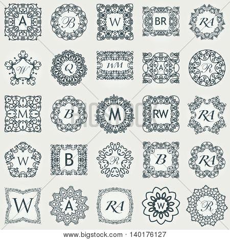 Big Set of Luxury monogram template. Flourishes calligraphic elegant ornament logos. Business sign or identity. Vector illustration