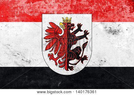 Flag Of Kuyavian-pomeranian Voivodeship With Coat Of Arms, Polan